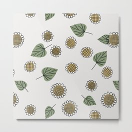 Seamless Sunflower Pattern Metal Print