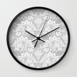 Stegosaurus Lace - White / Silver Wall Clock