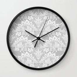 Stegosaurus Lace - White / Silver Wall Clock