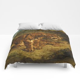 """Eugène Delacroix """"Tiger on the Look-Out or Growling Tiger"""" Comforters"""