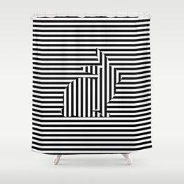 Rabbit on Stripes Shower Curtain