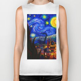 tardis starry night Biker Tank