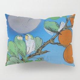 Persimmon branch moon and birds Japan Hieroglyph original artwork in japanese style J099  painting w Pillow Sham