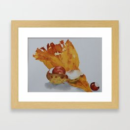 Autumn leaf and conker Framed Art Print