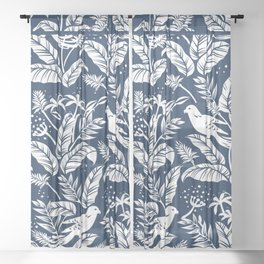 WHITE AND BLUE BIRDS Sheer Curtain