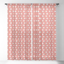 Cotton Plants with Cotton Bug ~ coral red Sheer Curtain