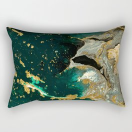 Abstract Pour Painting Liquid Marble Abstract Dark Green Painting Gold Accent Agate Stone Layers Rectangular Pillow