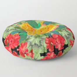 Yellow Roses Red Geraniums Green-Black Patters Floor Pillow