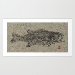 Large Mouth Bass Brown Art Print