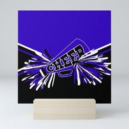 Blue, Black and White Cheerleader Design Mini Art Print