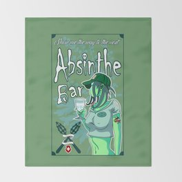 Absinthe Bar Pinup Throw Blanket