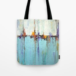 """Abstract White and Blue Painting – Textured Art – """"Sailing""""  Tote Bag"""