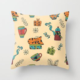 Happy New Year at Home Pattern Throw Pillow