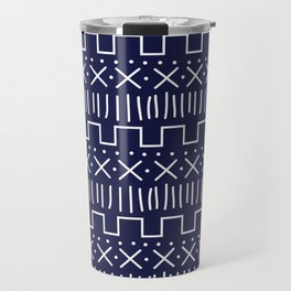 Navy Mud Cloth Travel Mug