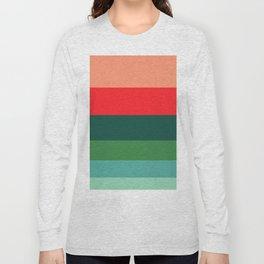 Mediterranean Spring Green Blue Pattern Colour Block Stripes Long Sleeve T-shirt