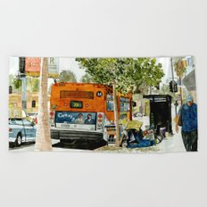 Homeless Series 5 ~ Sunset Blvd., Los Angeles, CA. Beach Towel