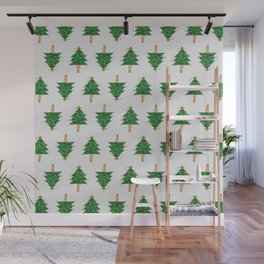 Christmas Tree pattern on White Wall Mural