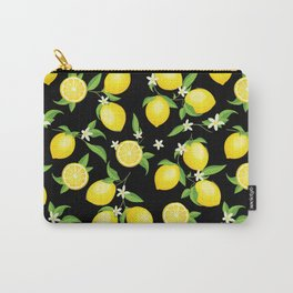You're the Zest - Lemons on Black Carry-All Pouch