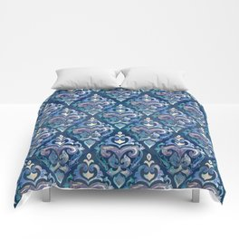 Persian Floral pattern blue and silver Comforters