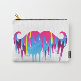 Neon Funny Mustache Melting Yellow Pink Blue Carry-All Pouch