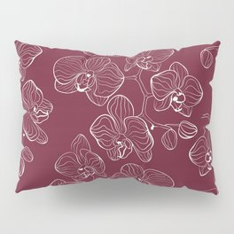 Retro . Orchid flowers on a red background . Pillow Sham