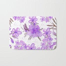 Watercolor lavender lilac brown modern floral Bath Mat
