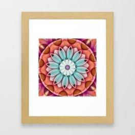 Peach Aqua Stippled Flower Kaleidoscope Framed Art Print
