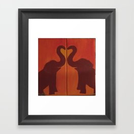 Elephants in Love Framed Art Print