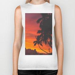 Tropical Palm Tree Sunset Silhouette Orange Red Yellow Biker Tank