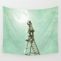 nan lawson Wall Tapestries featuring Waning Moon by Eric Fan