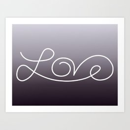 Love calligraphy print - Purple smoke gradient with white print Art Print