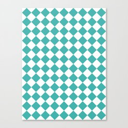 Diamonds - White and Verdigris Canvas Print