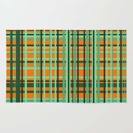 Orange - green checkered Design Rug