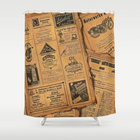 newspaper Shower Curtains featuring old newspaper by Marianna Burk