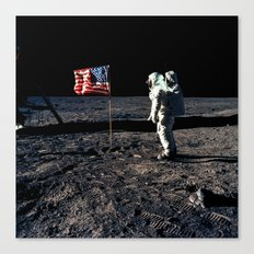 Buzz Aldrin and the U.S. Flag on the Moon Canvas Print