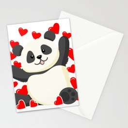 Cute Panda with Hearts I Valentine Heart Valentines Day Stationery Cards
