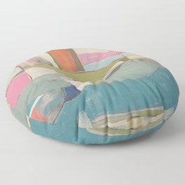 """""""tidal pool"""" abstract art in turquoise, cream, white, orange and pink by Floor Pillow"""