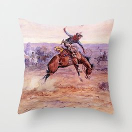 """""""Bucking Bronco"""" by Charles M Russell Throw Pillow"""