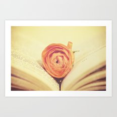 {Old Book and Ranunculus} Art Print