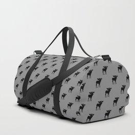 Bull Moose Silhouette - Black on Gray Duffle Bag