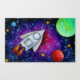 Rocket Flying Through the Galaxy Canvas Print