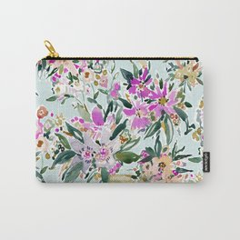 SWEPT AWAY Powder Blue Tropical Floral Carry-All Pouch