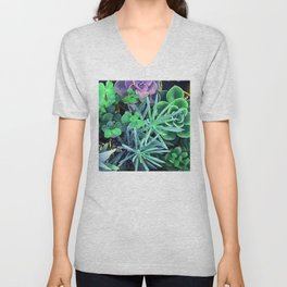 Lilac, Green And Blue Colorful Succulents In Pots Unisex V-Neck