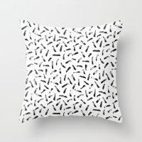 the strokes Throw Pillows featuring Strokes by elena + stephann