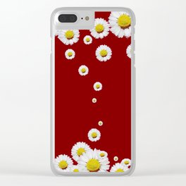 WHITE CASCADING DAISIES ON BURGUNDY Clear iPhone Case