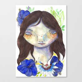 Girl and exotic blue flowers Canvas Print