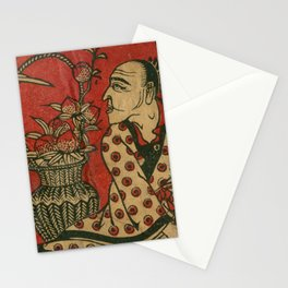 Japanese Man with Stork Stationery Cards