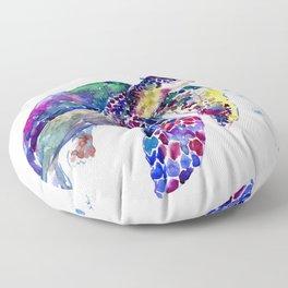 Sea Turtle Rainbow Colors, turtle design illustration artwork animals Floor Pillow