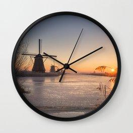 Windmills at Sunrise Wall Clock