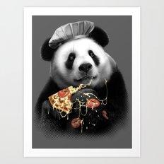 PANDA LOVES PIZZA Art Print